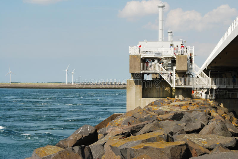 Oosterschelde storm surge barrier. In the province of Zeeland, the Netherlands royalty free stock photo