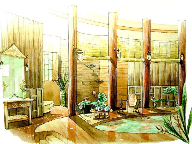Oosterse, Aziatische klassieke stijlbadkamers royalty-vrije illustratie