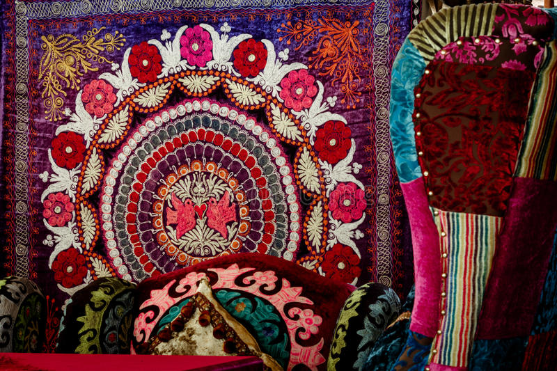 Oosterse Aziatische tapijten stock foto's