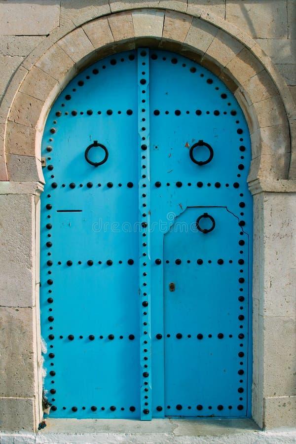 Oosterse blauwe deur royalty-vrije stock foto