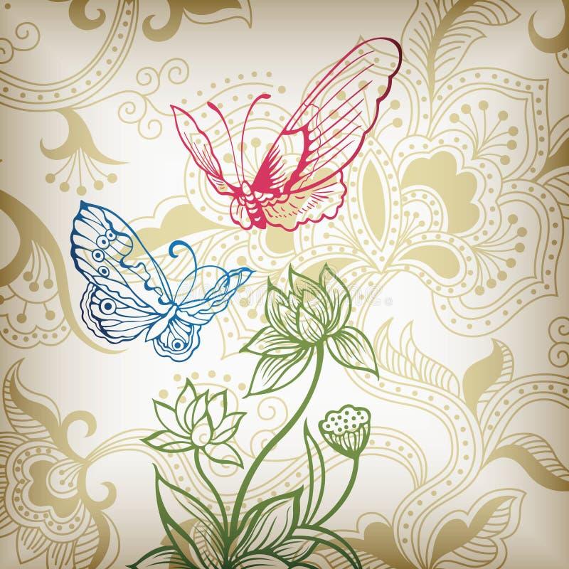 Oosterse Bloemen en Vlinder vector illustratie