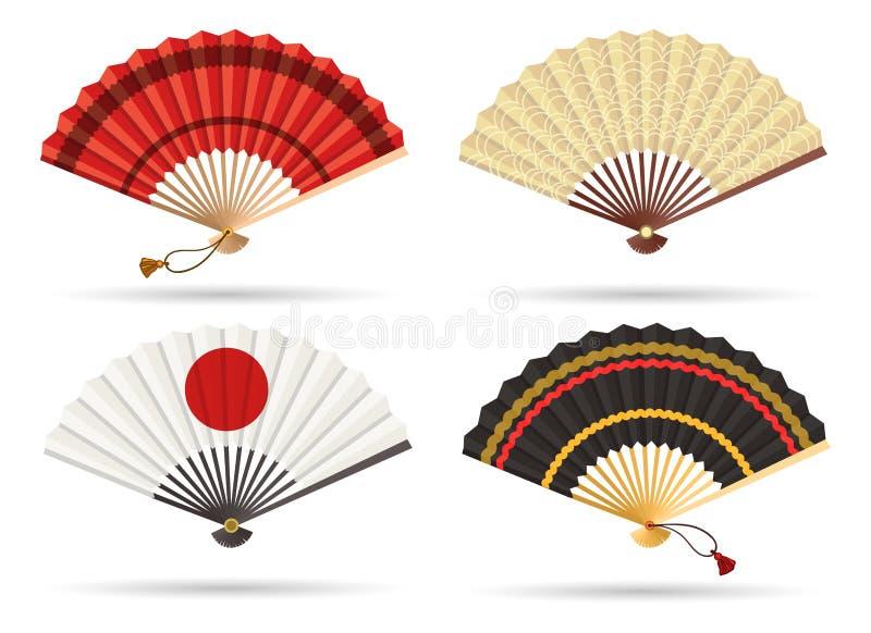 Oosterse de ventilatorreeks van Japan royalty-vrije illustratie