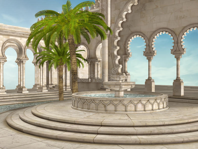 Oosterse fontein royalty-vrije illustratie