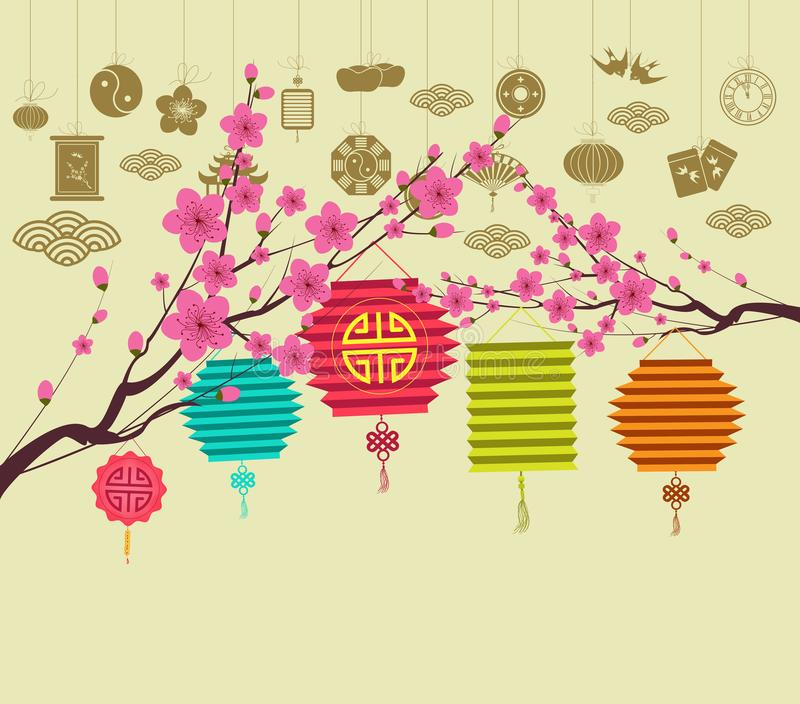 Oosterse Gelukkige Chinese Nieuwjaar 2018 bloesem Chinese baclground royalty-vrije illustratie