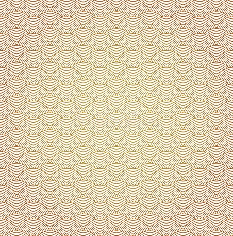 Oosterse het patroonachtergrond van de krommegolf stock illustratie