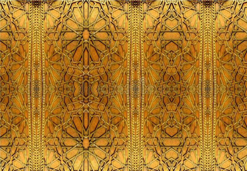 Oosterse ijzerontwerpen en ornamenten Het schilderen schildert oosterse patronen op de ijzerdeur af stock afbeeldingen