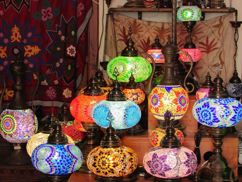 Oosterse mozaïeklampen stock afbeeldingen