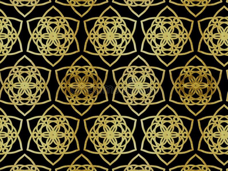 Oosterse patroon gouden kleur, illustratie Bloem Mandala Uitstekende decoratieve elementen Ornament Geïsoleerd op een zwarte acht royalty-vrije illustratie