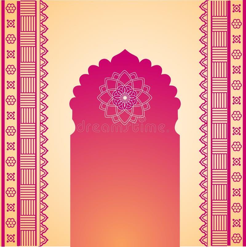 Oosterse roze en room de poortachtergrond van de hennatempel vector illustratie
