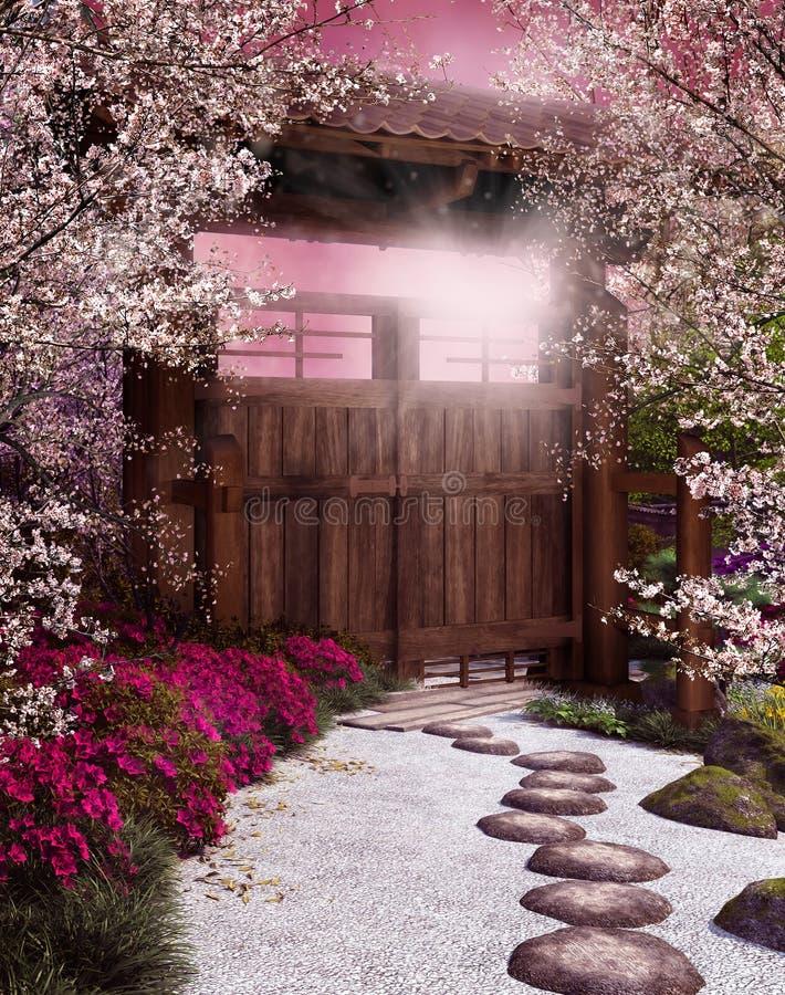 Oosterse tuin royalty-vrije illustratie
