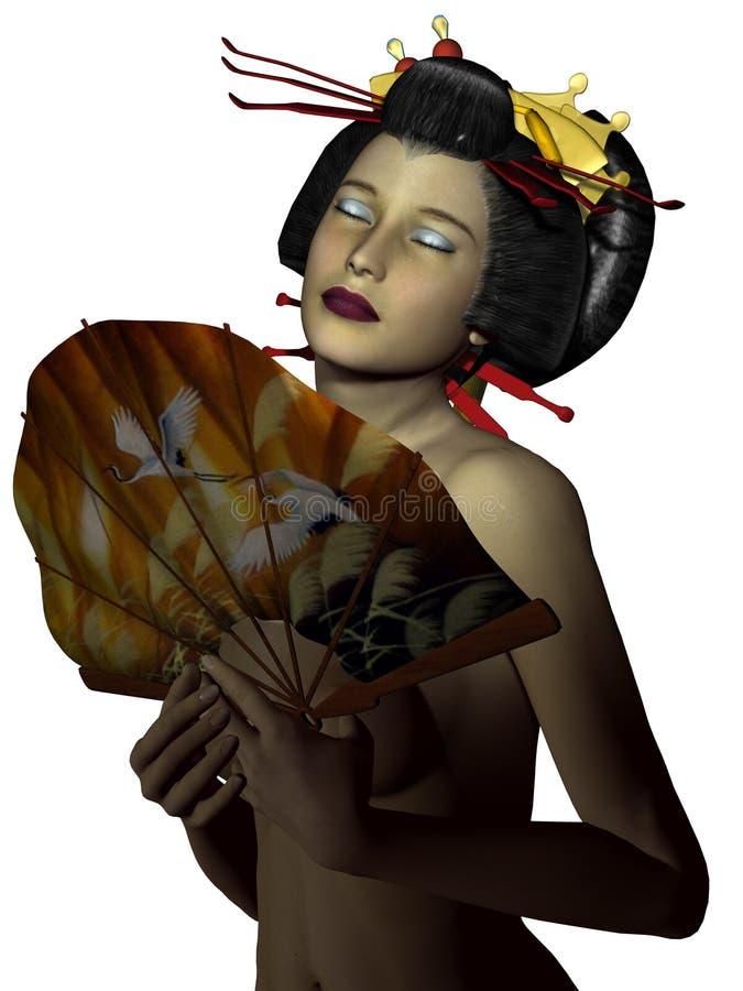 Oosterse vrouw met ventilator vector illustratie