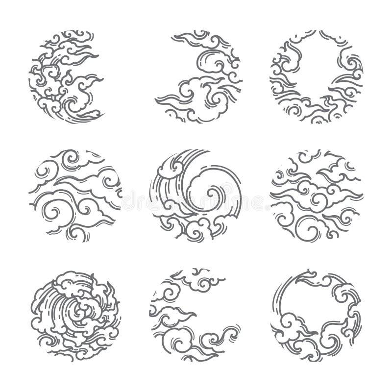 Oosterse wolk in het ronde pictogram van het vormkader japans thais vector illustratie