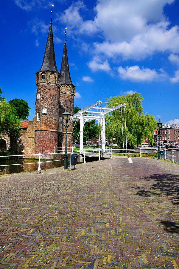 Oostpoort, Delft. The Oostpoort (Eastern Gate) guardic the historic city centre of Delft, a town in Holland stock photography