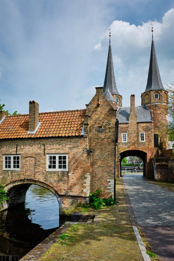 Oostport Eastern Gate of Delft. Delft, Netherlands royalty free stock photos