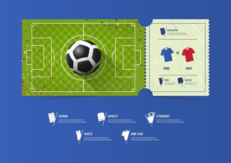 Ootball lub piłka nożna szablonu biletowy projekt dla sporta dopasowania Piłki nożnej smoła z przekątna wzorem Prezentów alegaty  royalty ilustracja