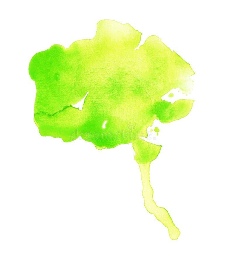 Oozing Green Watercolor Blob. Handmade illustration of green watercolor royalty free illustration