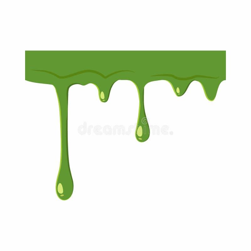 Oozing slime isolated on white background. Green slime vector illustration stock illustration