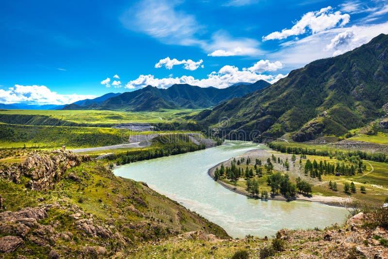 Oozy zbieżność rzeki Chuya i Katun Altai republika, Rosja fotografia stock