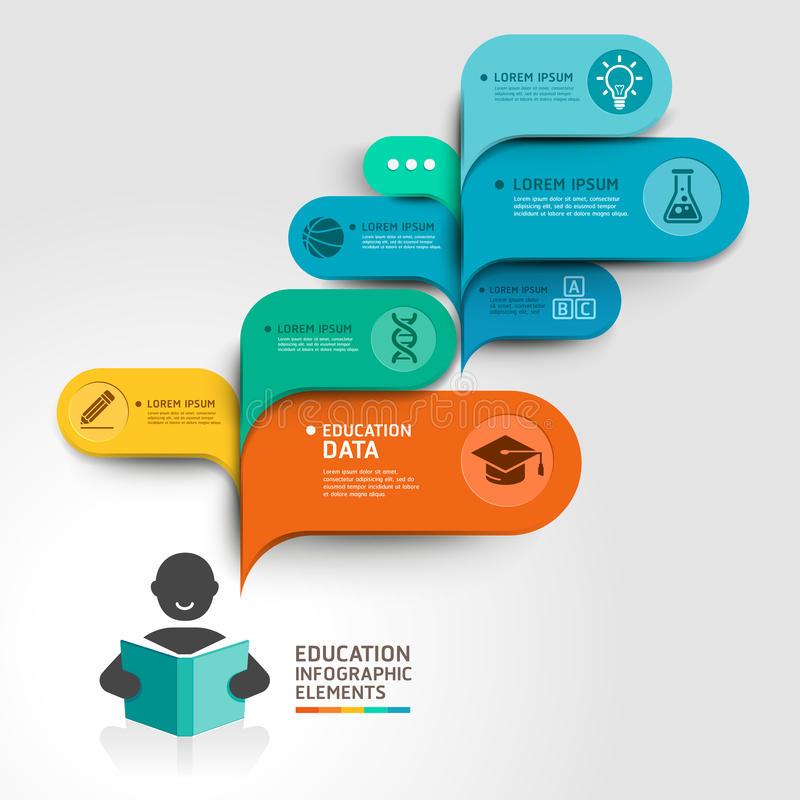 Opção da etapa de Infographics da educação. ilustração royalty free