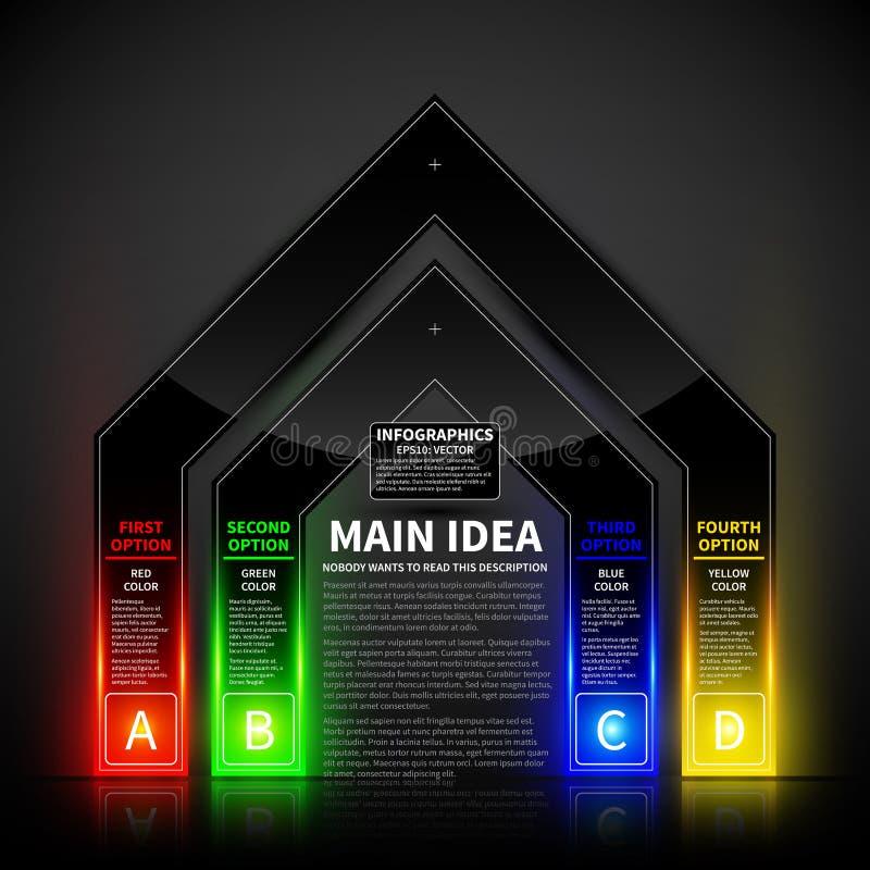 4 opções de incandescência coloridas sob a forma da porta Útil para apresentações e propaganda ilustração stock