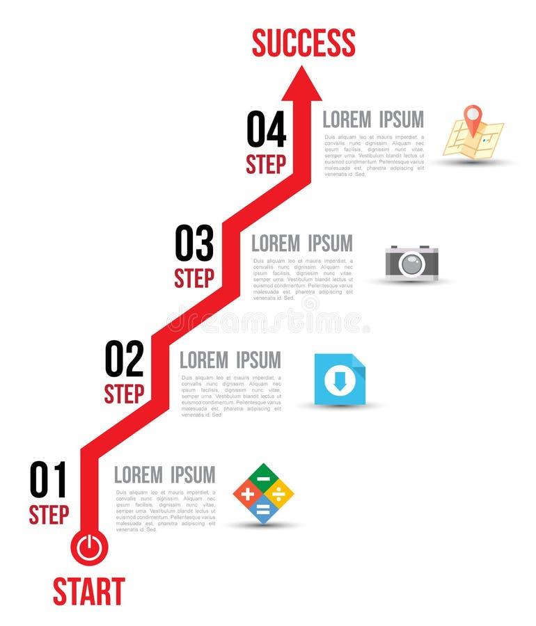 Opções do gráfico do diagrama de seta de Infographic com ícones lisos para o molde do projeto da disposição ilustração do vetor