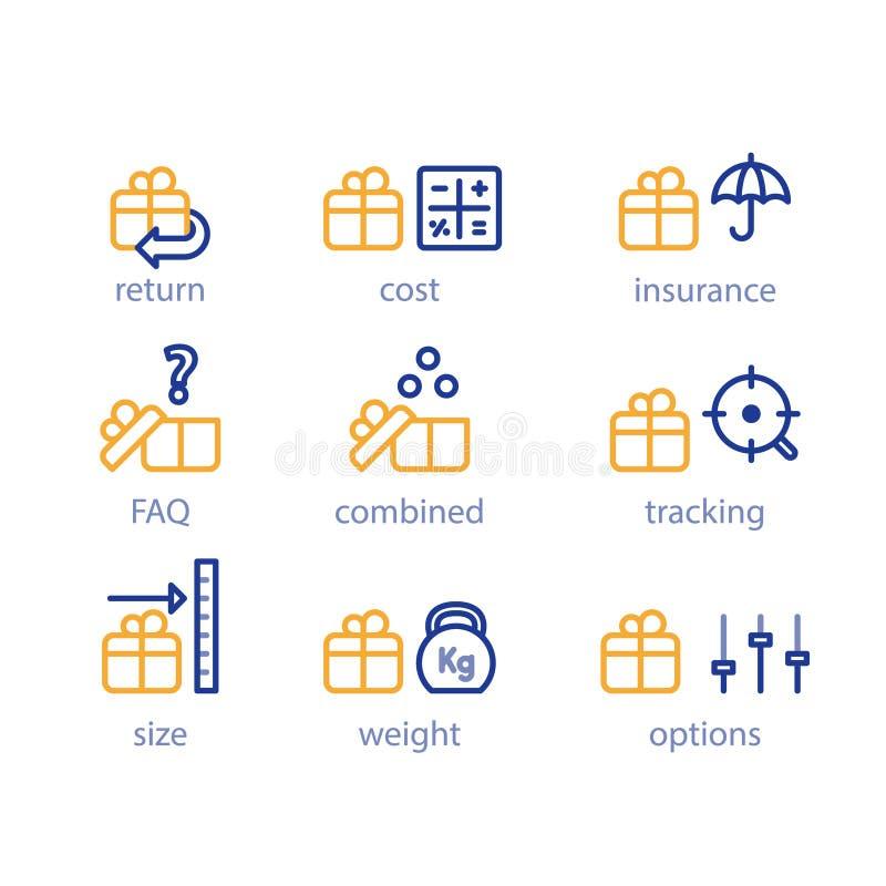 Opções do transporte, serviços da expedição, parâmetros do pacote, tamanho da caixa e peso ilustração royalty free