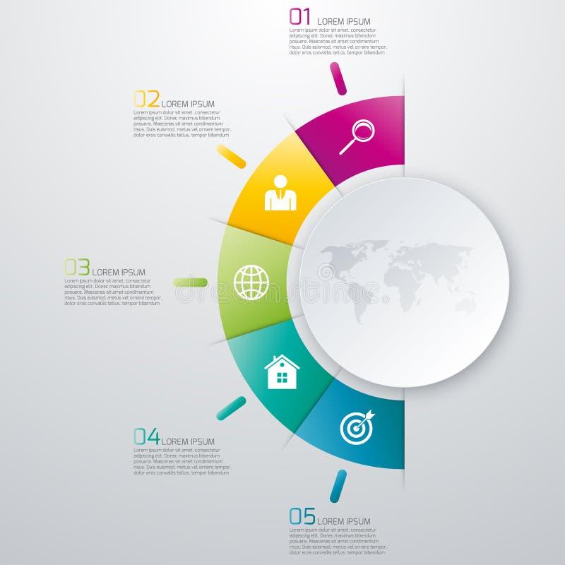 Opções infographic da ilustração do vetor cinco ilustração stock