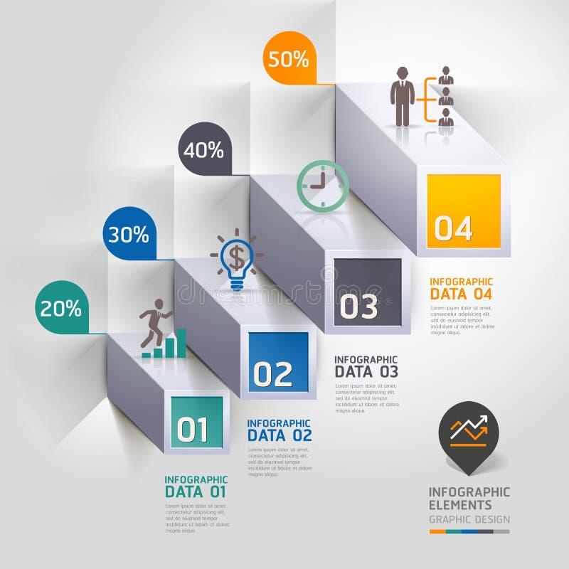 opções modernas do steb do negócio do diagrama da escadaria 3d. ilustração royalty free
