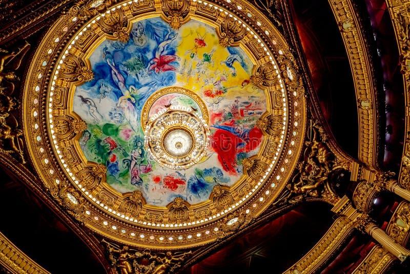 Opéra Garnier Ceiling van Chagall en Palais Garnier Chandelier Binnenhuisarchitectuur en architectur stock afbeelding