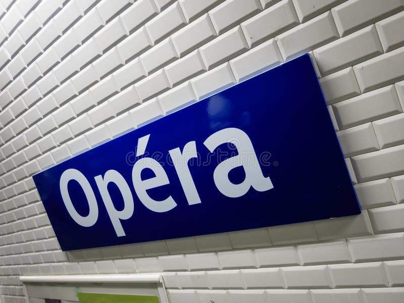 Opéra metro sign Paris royalty free stock image