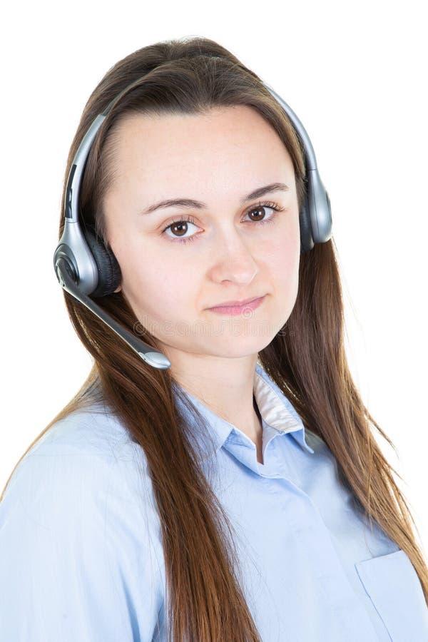 Opérateur attirant de centre d'appels de jeune femme d'isolement sur le fond blanc images libres de droits