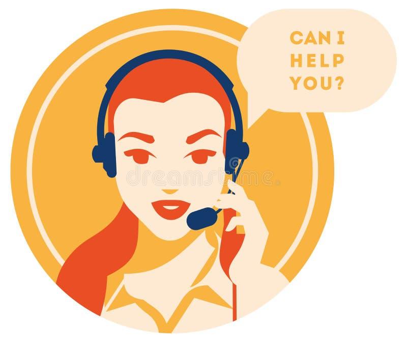 Opérateur de centre d'appels avec l'icône de casque Services de client et communication, support à la clientèle, aide de téléphon illustration libre de droits