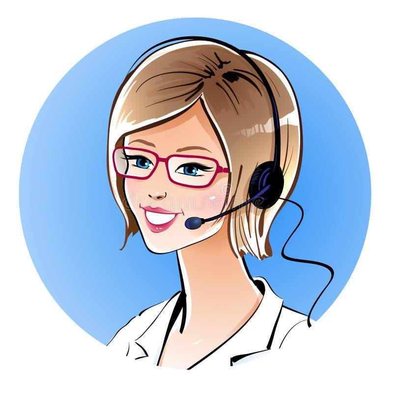 Opérateur de centre d'attention téléphonique illustration libre de droits