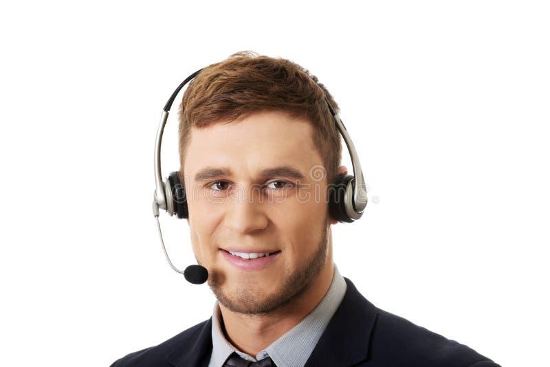 Opérateur de sourire heureux de téléphone de support à la clientèle images stock