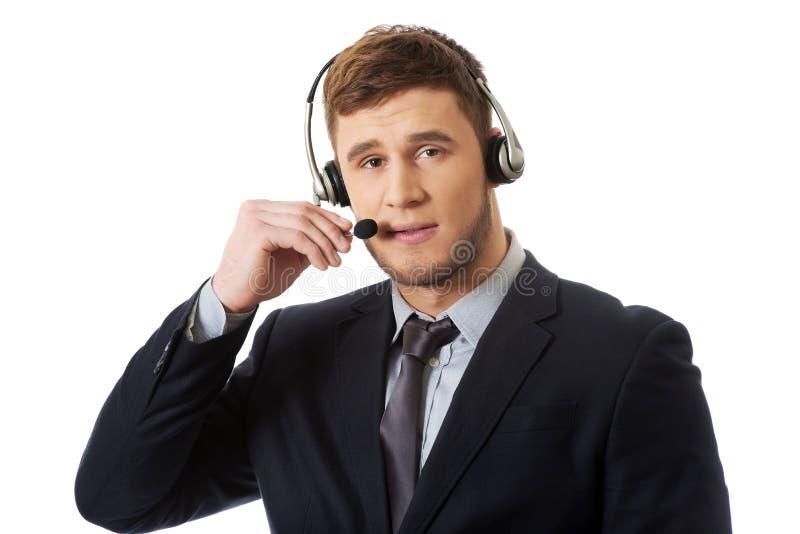 Opérateur de sourire heureux de téléphone de support à la clientèle photos stock