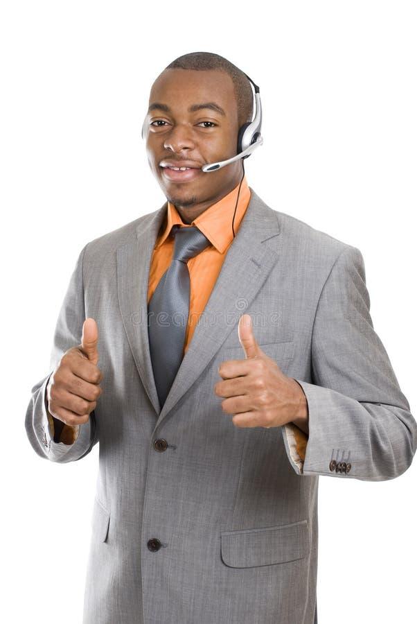 Opérateur de support à la clientèle d'Afro-américain image libre de droits
