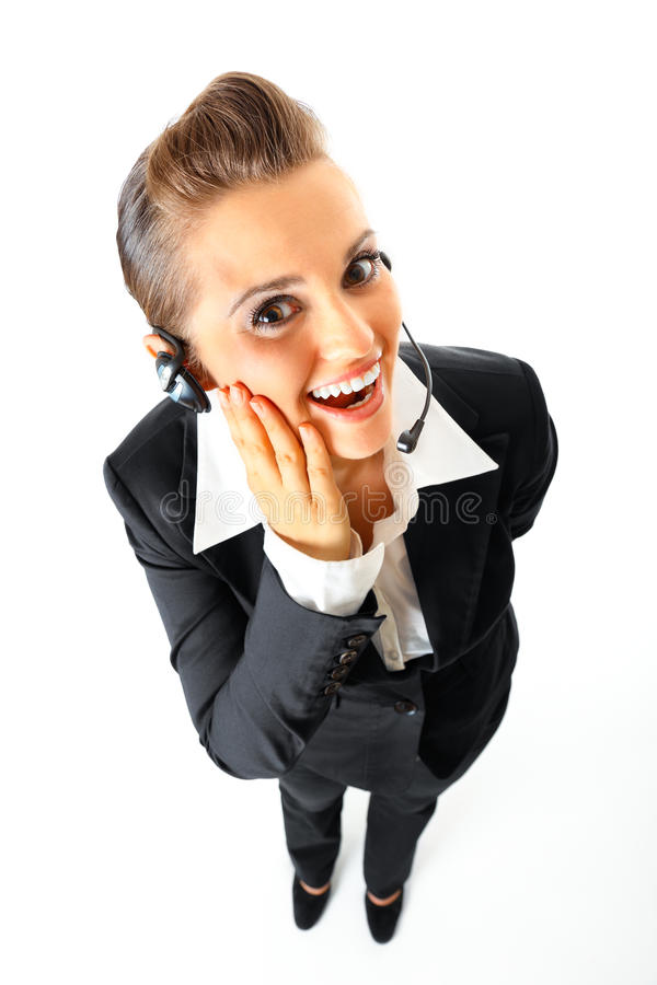 Opérateur de téléphone heureux avec l'écouteur photo stock