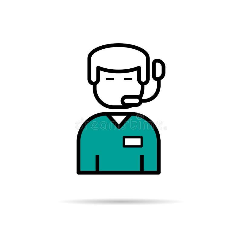 Opérateur en ligne d'homme d'icône - linéaire illustration de vecteur