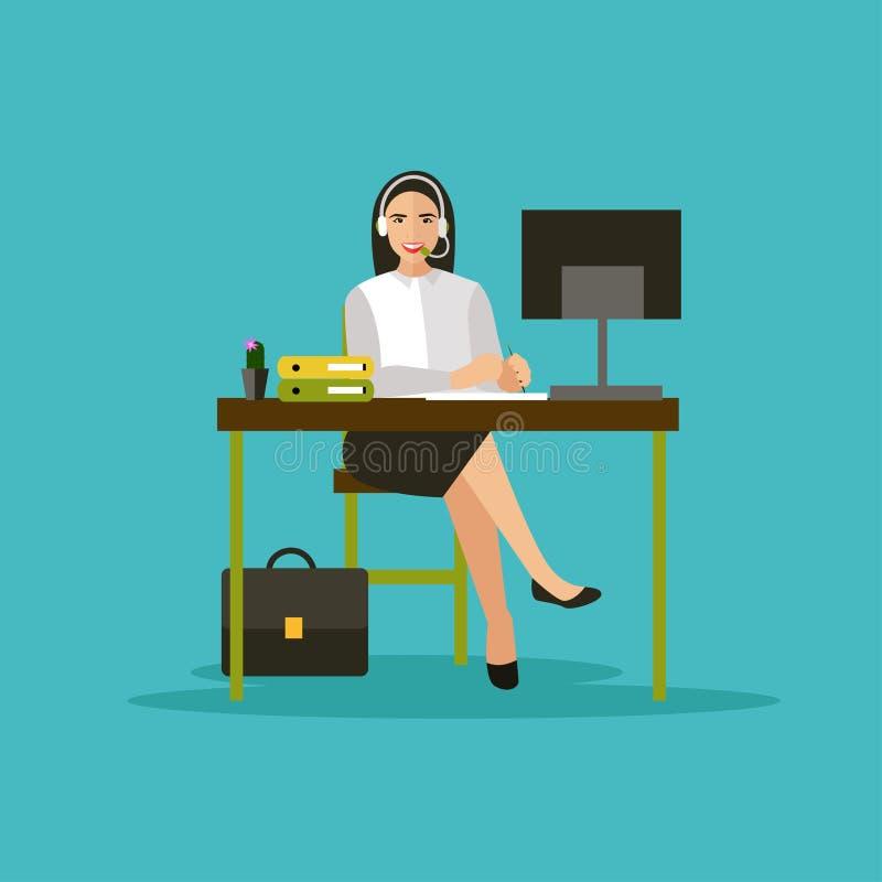 Opérateur féminin dans la bannière de vecteur de concept de centre d'appels illustration de vecteur