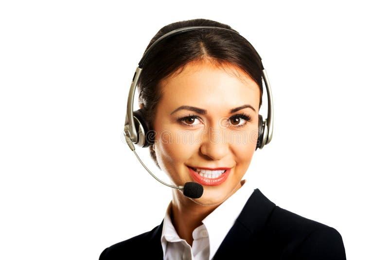 Opérateur heureux de téléphone dans le casque image stock