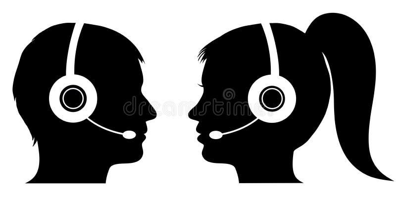 Opérateur masculin et féminin au centre d'appels illustration libre de droits