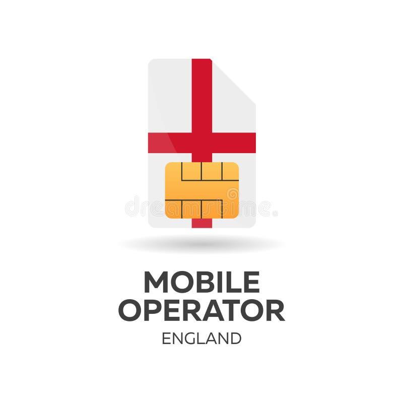 Opérateur mobile de l'Angleterre Carte de SIM avec le drapeau Illustration de vecteur illustration de vecteur