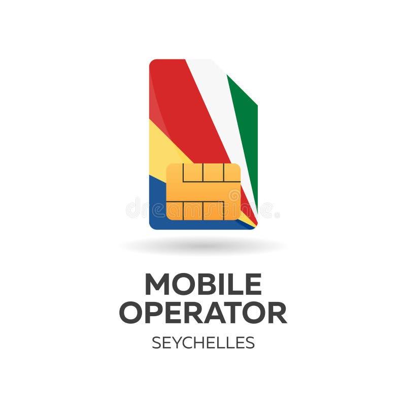Opérateur mobile des Seychelles Carte de SIM avec le drapeau Illustration de vecteur illustration stock