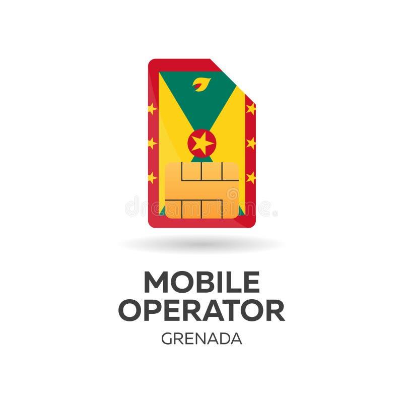 Opérateur mobile du Grenada Carte de SIM avec le drapeau Illustration de vecteur illustration libre de droits