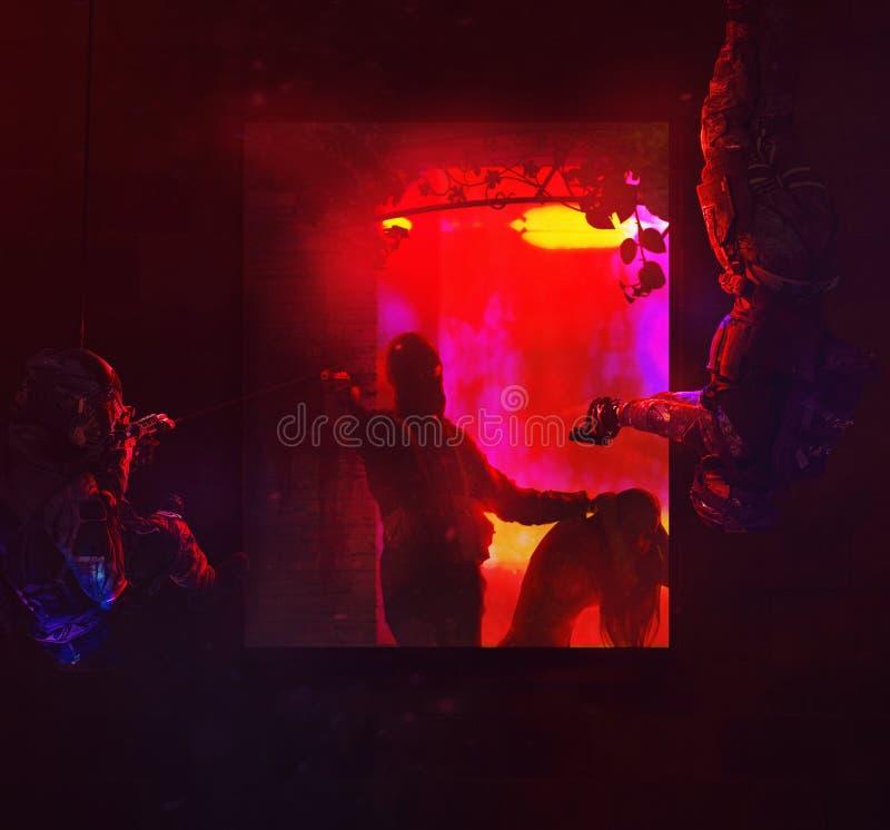 Opération anti-terroriste de délivrance d'otage photo stock