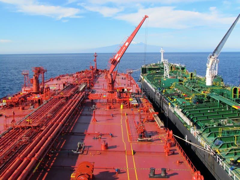 Opération de transfert navire-navire de pétrole marin dans l'action sur le fond de vulcano de l'Etna images libres de droits