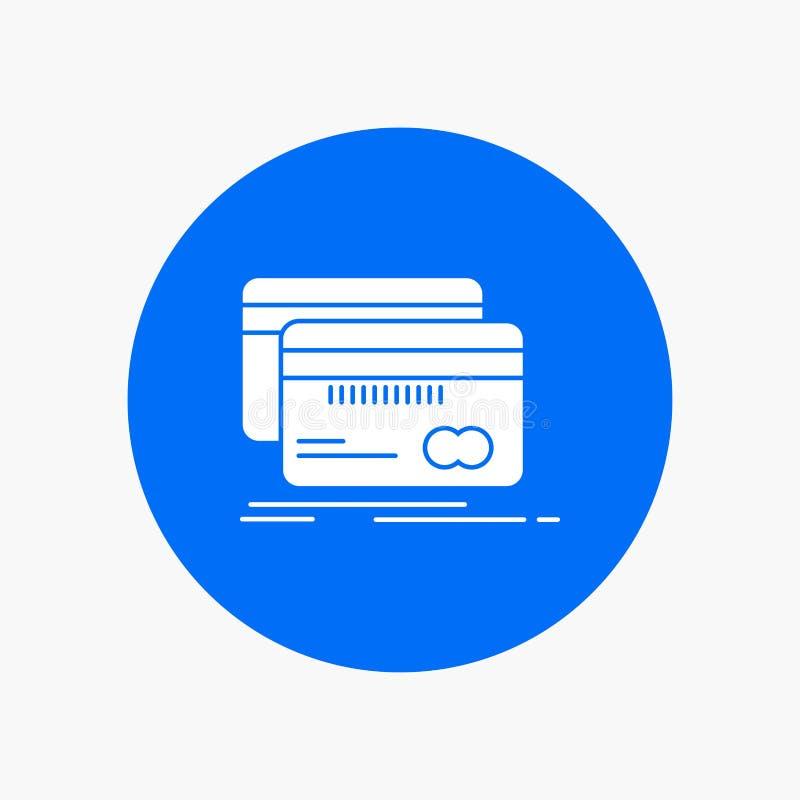 Opérations bancaires, carte, crédit, débit, icône blanche de Glyph de finances en cercle Illustration de bouton de vecteur illustration stock