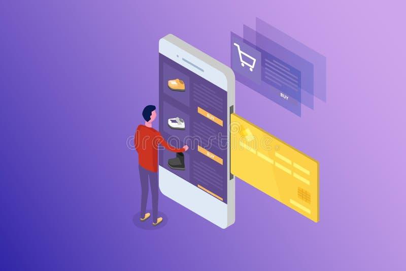 Opérations bancaires en ligne et Shoping, paiements mobiles, concept isométrique d'argent de transfert photos libres de droits