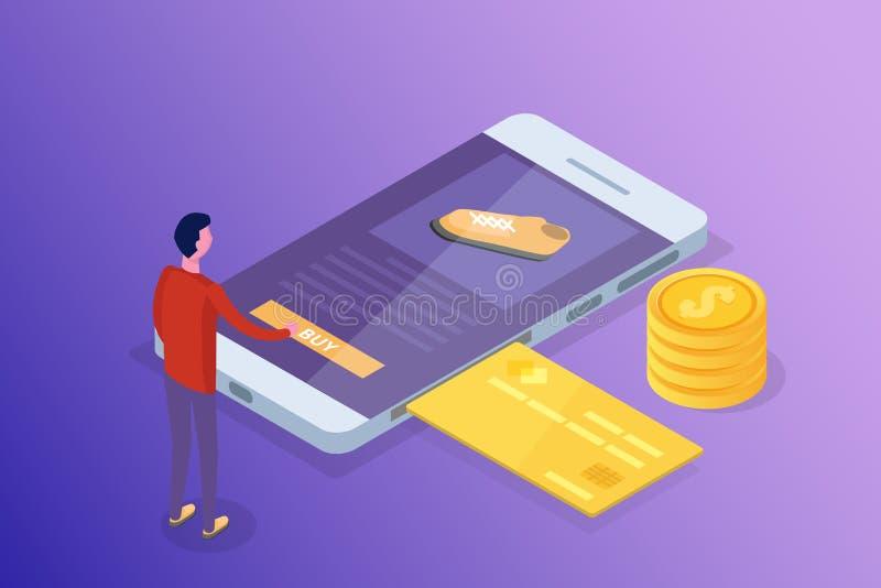 Opérations bancaires en ligne et Shoping, paiements mobiles, concept isométrique d'argent de transfert images libres de droits