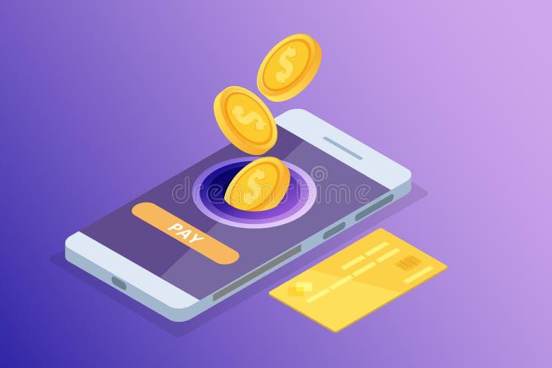 Opérations bancaires en ligne et Shoping, paiements mobiles, concept isométrique d'argent de transfert photo stock